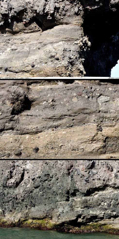 基部はふつーに総状の岩石です。