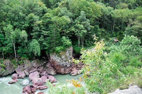 真ん中辺の岩でクライミング中だったりします。