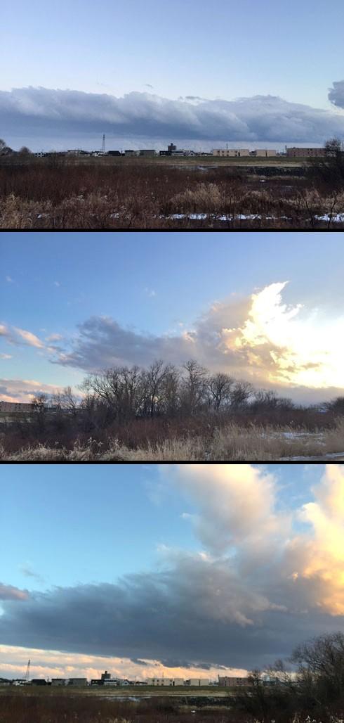 北東方向は真っ黒な雪雲に覆われてます。