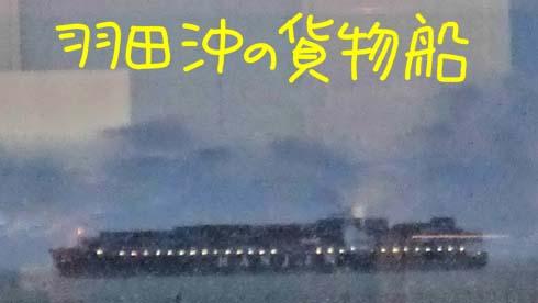 降雨中と言えども、遠くに貨物船が見えます。