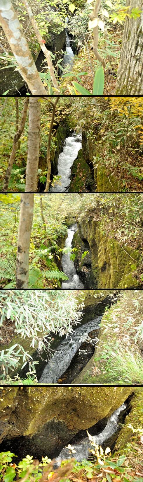 岩石が柔らかいのか、浸食は相当進んでます。
