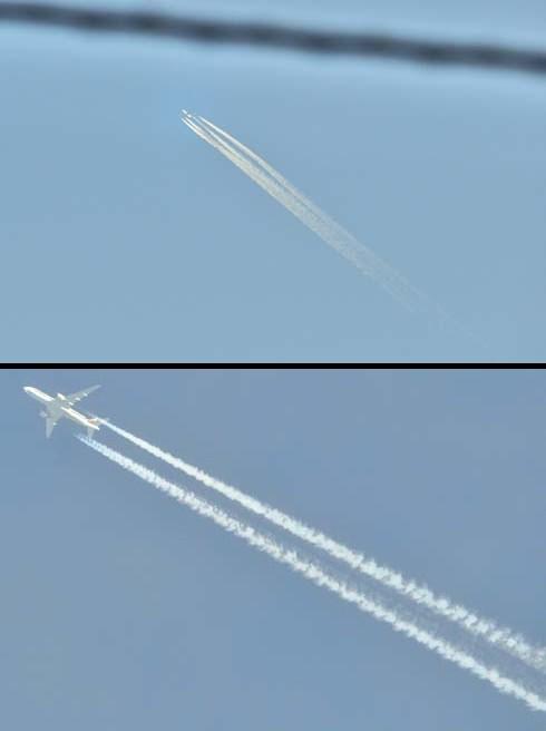 飛行機雲がよく出来る季節です。